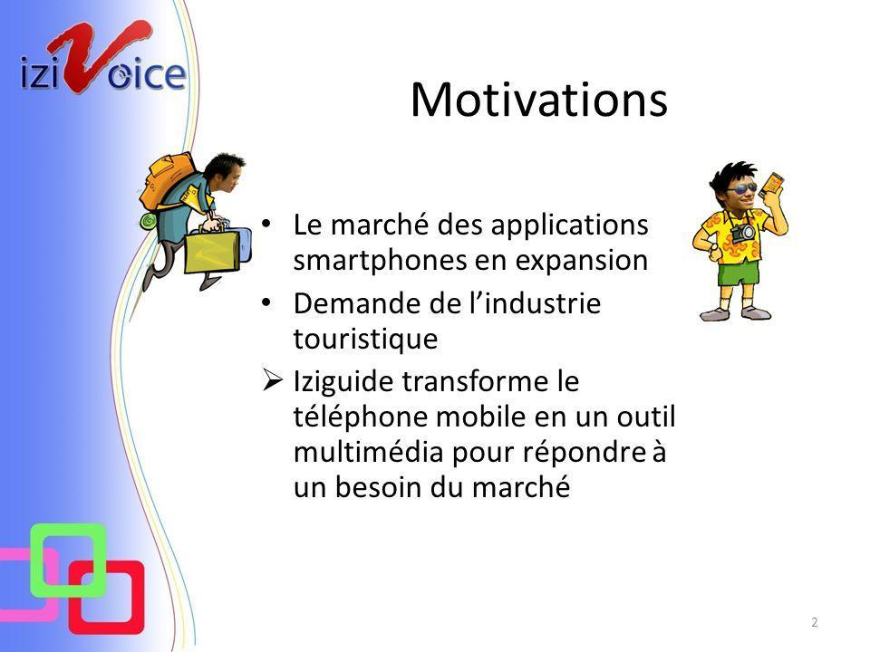 Motivations Le marché des applications smartphones en expansion Demande de lindustrie touristique Iziguide transforme le téléphone mobile en un outil multimédia pour répondre à un besoin du marché 2