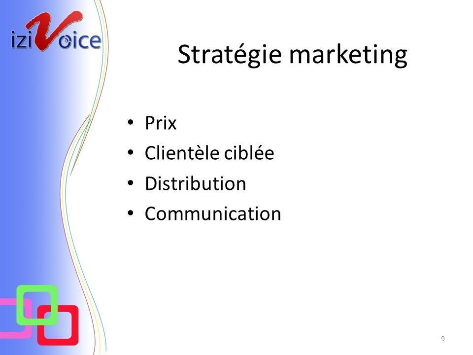 Stratégie marketing 9 Prix Clientèle ciblée Distribution Communication
