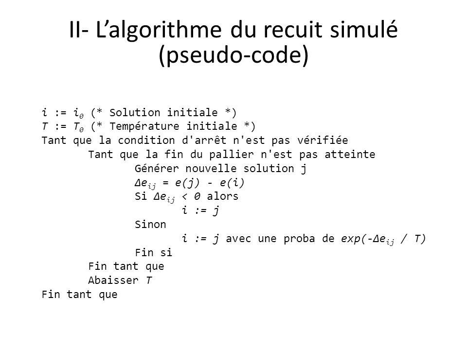 II- Lalgorithme du recuit simulé (pseudo-code) i := i 0 (* Solution initiale *) T := T 0 (* Température initiale *) Tant que la condition d'arrêt n'es