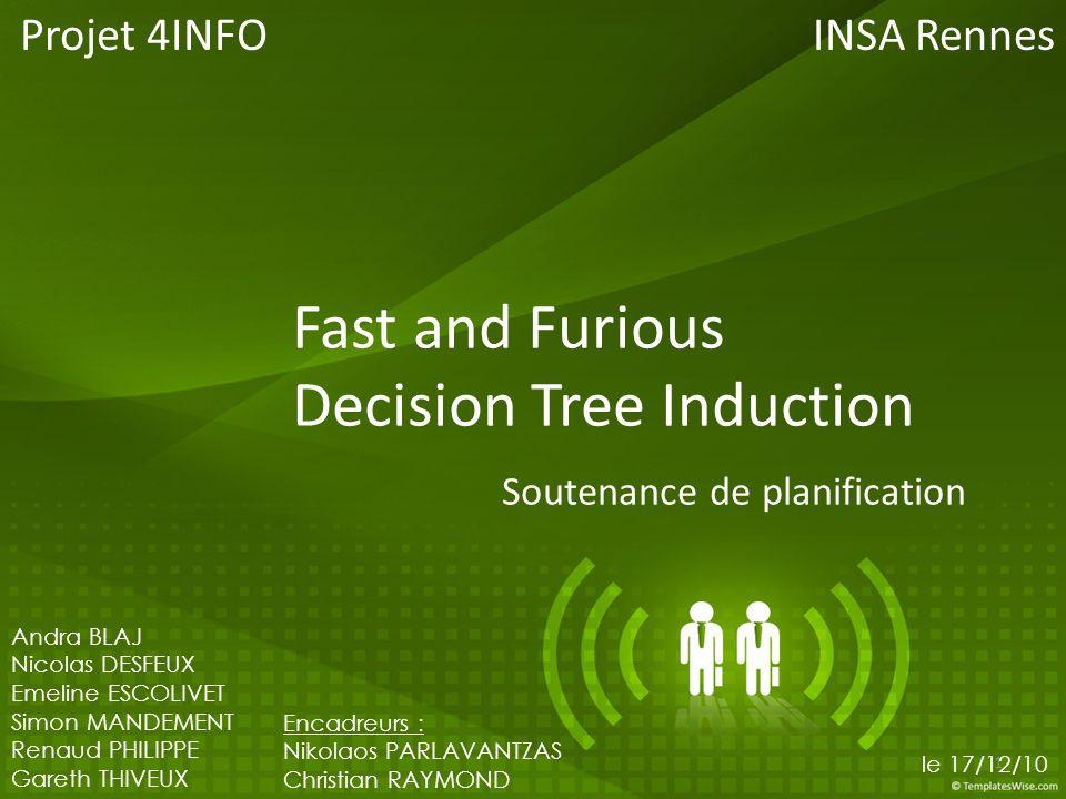 Fast and Furious Decision Tree Induction 1.Méthode de planification 2.Gestion des tâches 1.Calendrier de travail 2.Ressources 3.Détermination des tâches 4.Estimation de la durée des tâches 5.Ordonnancement des tâches 6.Diagramme de Gantt 7.Analyse des risques 3.Conclusion 2/12