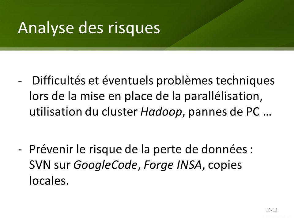 Analyse des risques 10/12 - Difficultés et éventuels problèmes techniques lors de la mise en place de la parallélisation, utilisation du cluster Hadoo
