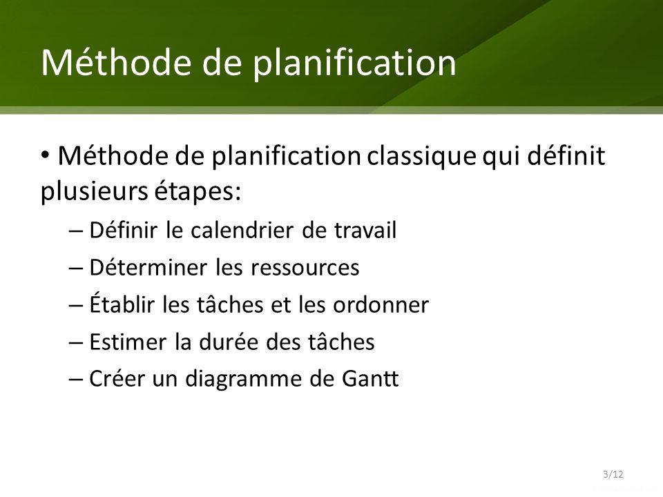 Méthode de planification Méthode de planification classique qui définit plusieurs étapes: – Définir le calendrier de travail – Déterminer les ressourc