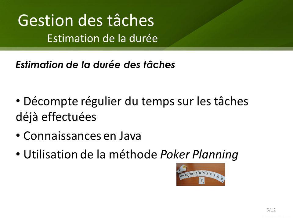 Gestion des tâches Estimation de la durée Décompte régulier du temps sur les tâches déjà effectuées Connaissances en Java Utilisation de la méthode Po