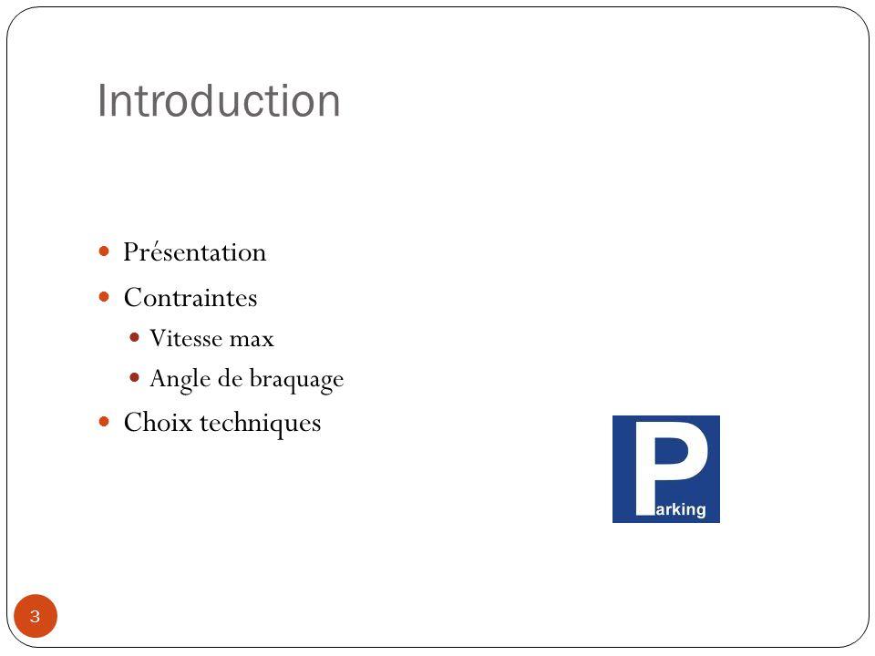 Introduction Présentation Contraintes Vitesse max Angle de braquage Choix techniques 3