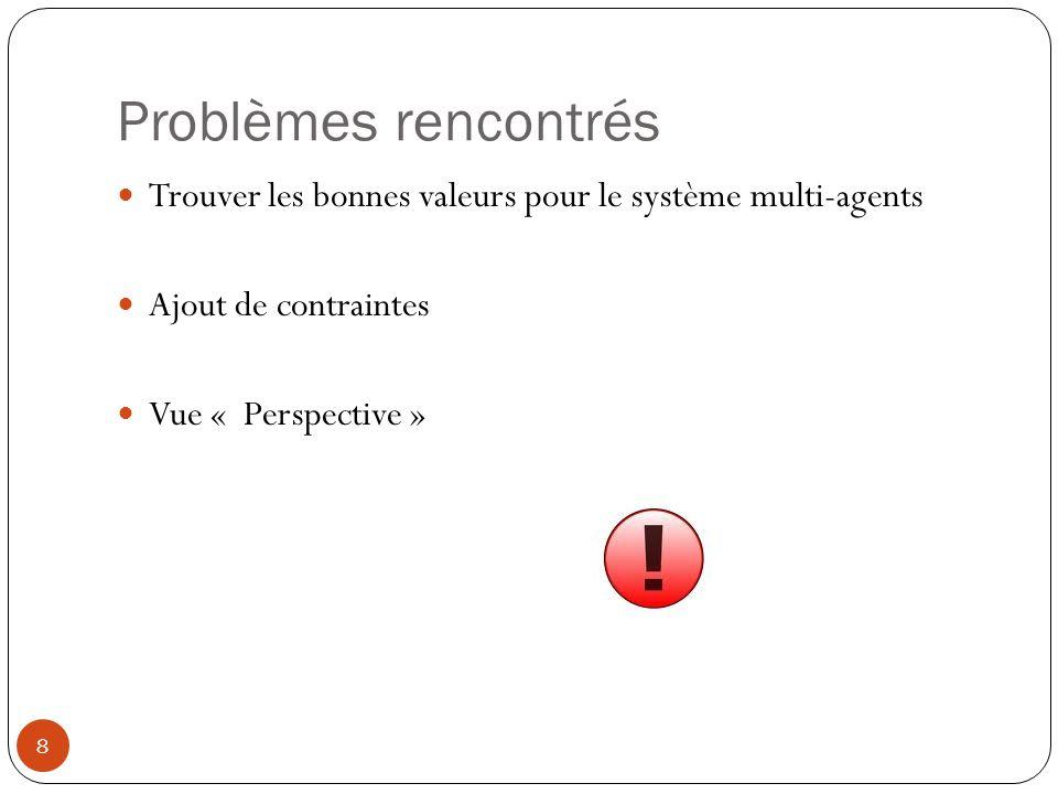 Problèmes rencontrés Trouver les bonnes valeurs pour le système multi-agents Ajout de contraintes Vue « Perspective » 8