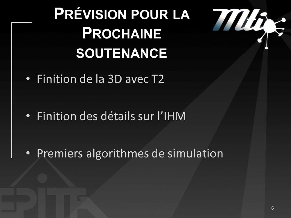 P RÉVISION POUR LA P ROCHAINE SOUTENANCE Finition de la 3D avec T2 Finition des détails sur lIHM Premiers algorithmes de simulation 6