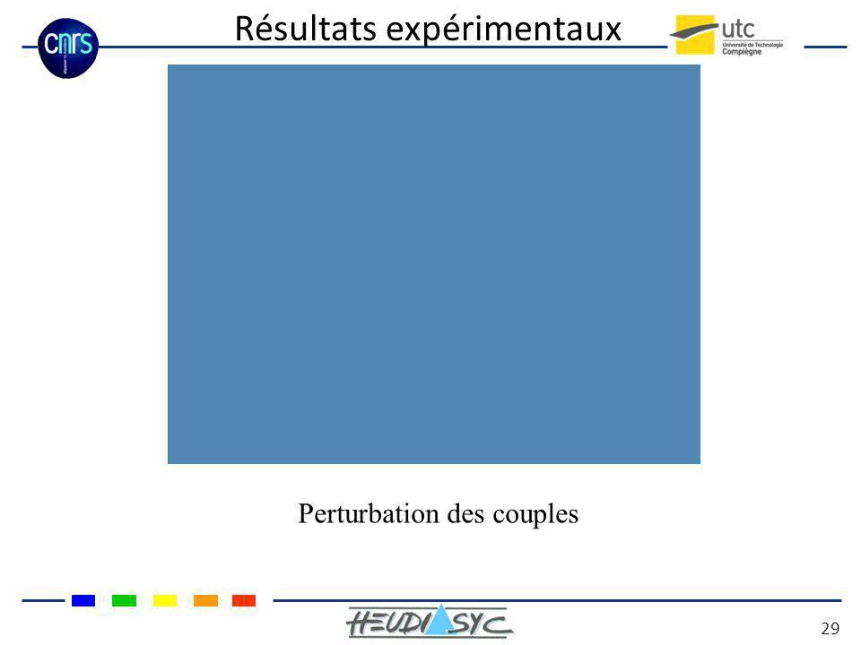 Résultats expérimentaux 29 Perturbation des couples