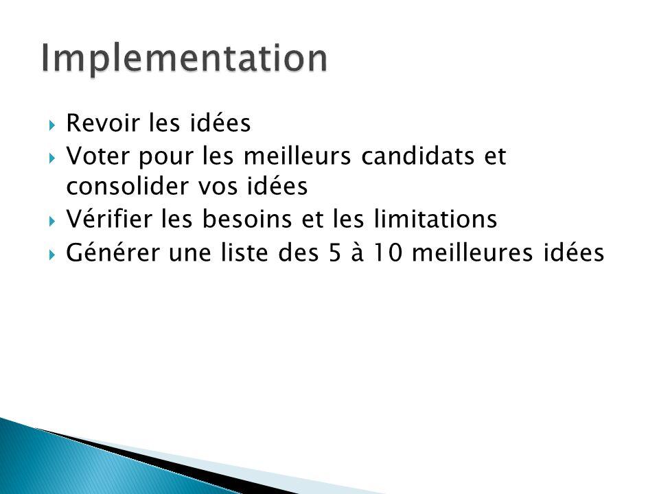 Revoir les idées Voter pour les meilleurs candidats et consolider vos idées Vérifier les besoins et les limitations Générer une liste des 5 à 10 meilleures idées