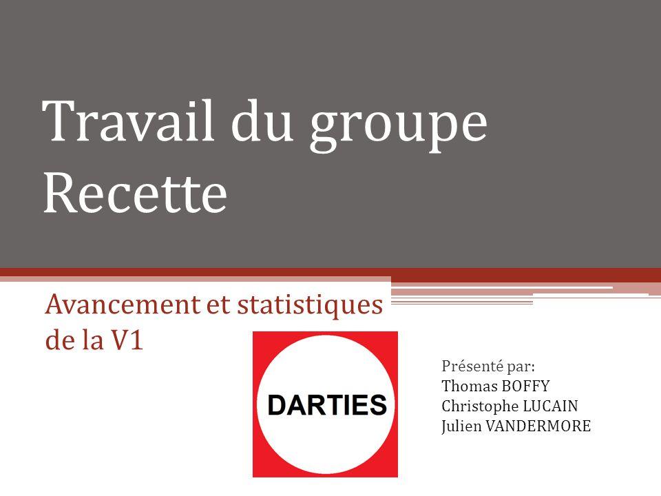 Travail du groupe Recette Avancement et statistiques de la V1 Présenté par: Thomas BOFFY Christophe LUCAIN Julien VANDERMORE