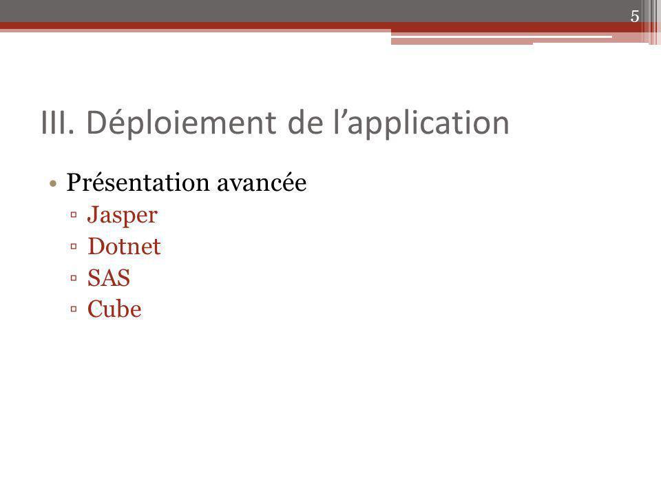 III. Déploiement de lapplication Présentation avancée Jasper Dotnet SAS Cube 5