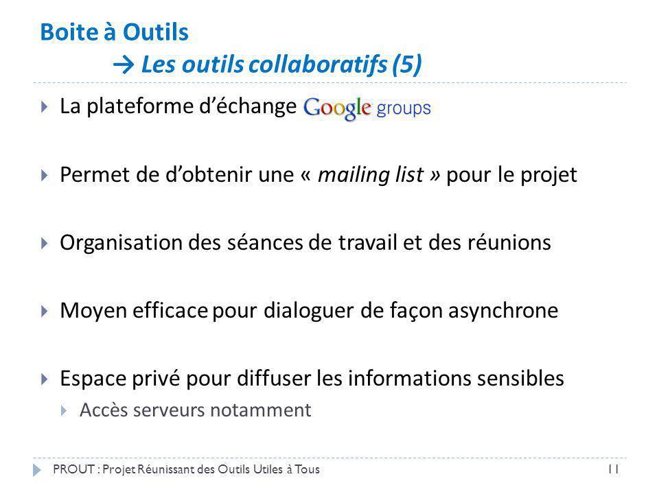 Boite à Outils Les outils collaboratifs (5) PROUT : Projet Réunissant des Outils Utiles à Tous11 La plateforme déchange Permet de dobtenir une « maili