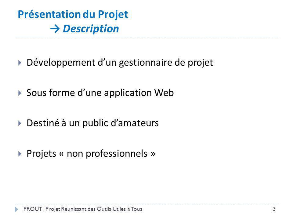 Présentation du Projet Description PROUT : Projet Réunissant des Outils Utiles à Tous3 Développement dun gestionnaire de projet Sous forme dune applic
