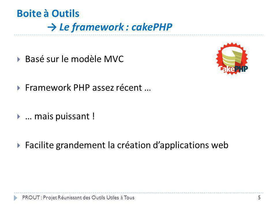 Boite à Outils Le framework : cakePHP PROUT : Projet Réunissant des Outils Utiles à Tous5 Basé sur le modèle MVC Framework PHP assez récent … … mais p