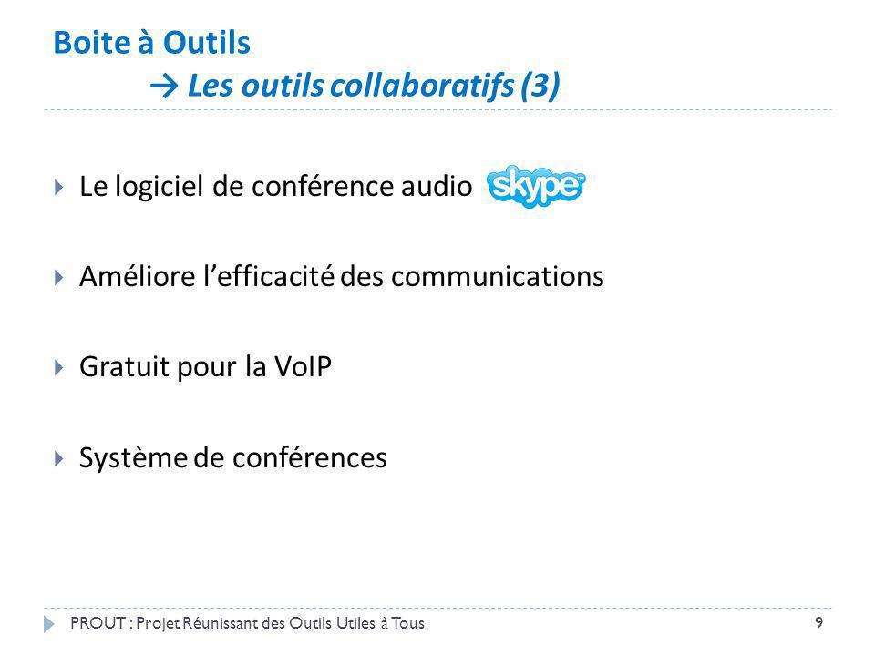 Boite à Outils Les outils collaboratifs (3) PROUT : Projet Réunissant des Outils Utiles à Tous9 Le logiciel de conférence audio Améliore lefficacité d
