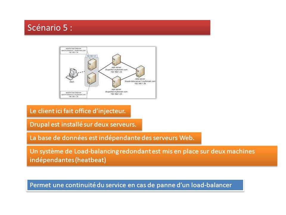 Un système de Load-balancing redondant est mis en place sur deux machines indépendantes (heatbeat) Permet une continuité du service en cas de panne dun load-balancer Scénario 5 : Le client ici fait office dinjecteur.