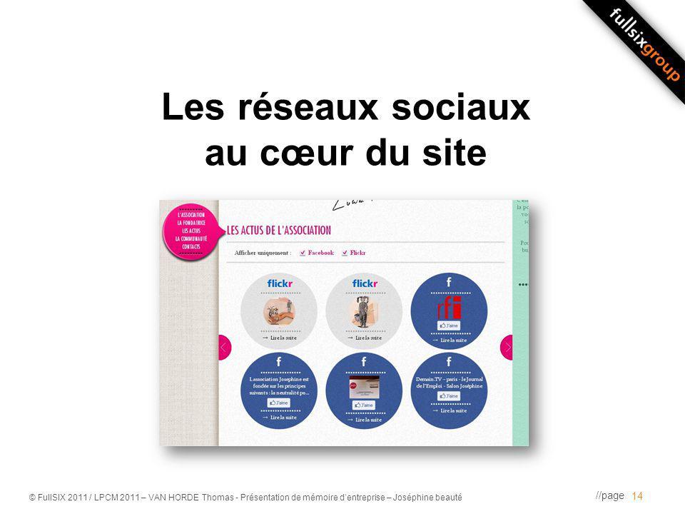 //page © FullSIX 2011 / LPCM 2011 – VAN HORDE Thomas - Présentation de mémoire dentreprise – Joséphine beauté Les réseaux sociaux au cœur du site 14
