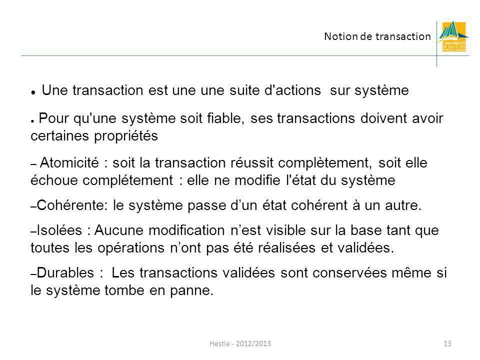 Hestia - 2012/2013 Une transaction est une une suite d'actions sur système Pour qu'une système soit fiable, ses transactions doivent avoir certaines p