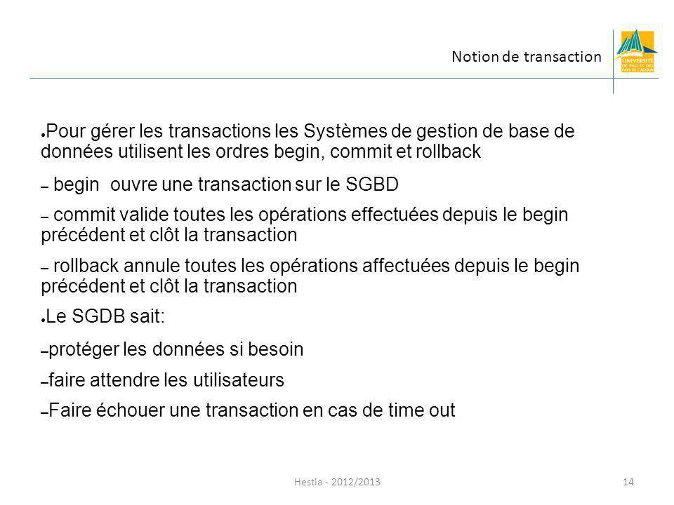 Hestia - 2012/2013 Pour gérer les transactions les Systèmes de gestion de base de données utilisent les ordres begin, commit et rollback – begin ouvre