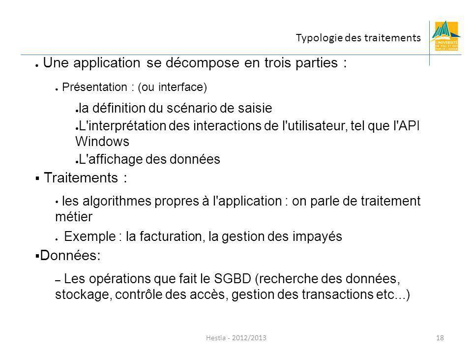 Hestia - 2012/2013 Une application se décompose en trois parties : Présentation : (ou interface) la définition du scénario de saisie L'interprétation
