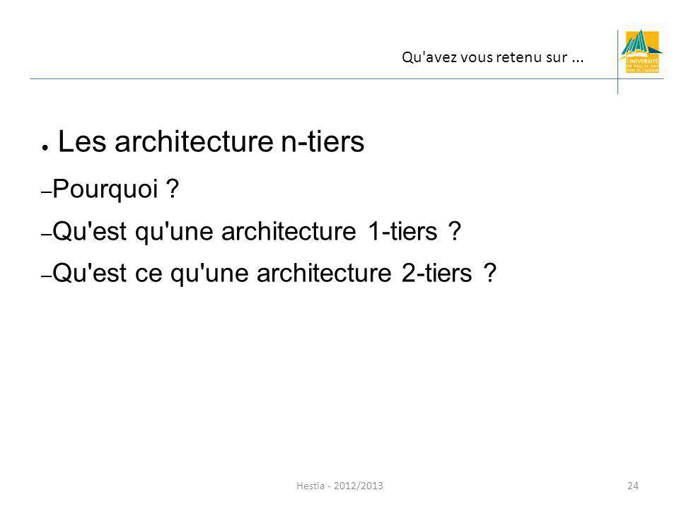 Les architecture n-tiers – Pourquoi ? – Qu'est qu'une architecture 1-tiers ? – Qu'est ce qu'une architecture 2-tiers ? Hestia - 2012/2013 Qu'avez vous
