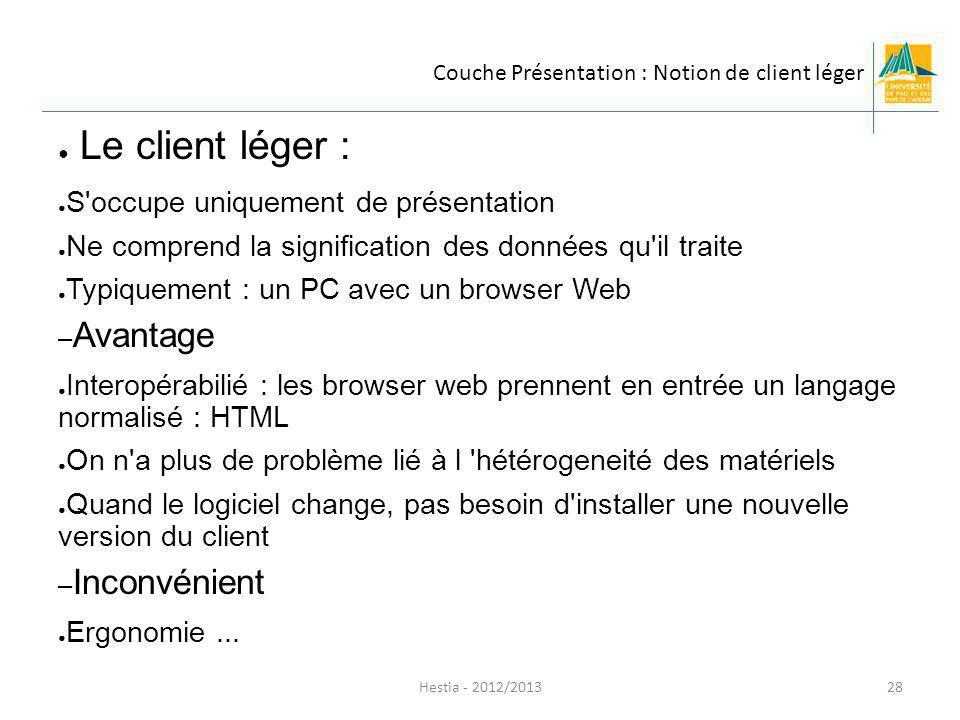 Hestia - 2012/2013 Le client léger : S'occupe uniquement de présentation Ne comprend la signification des données qu'il traite Typiquement : un PC ave