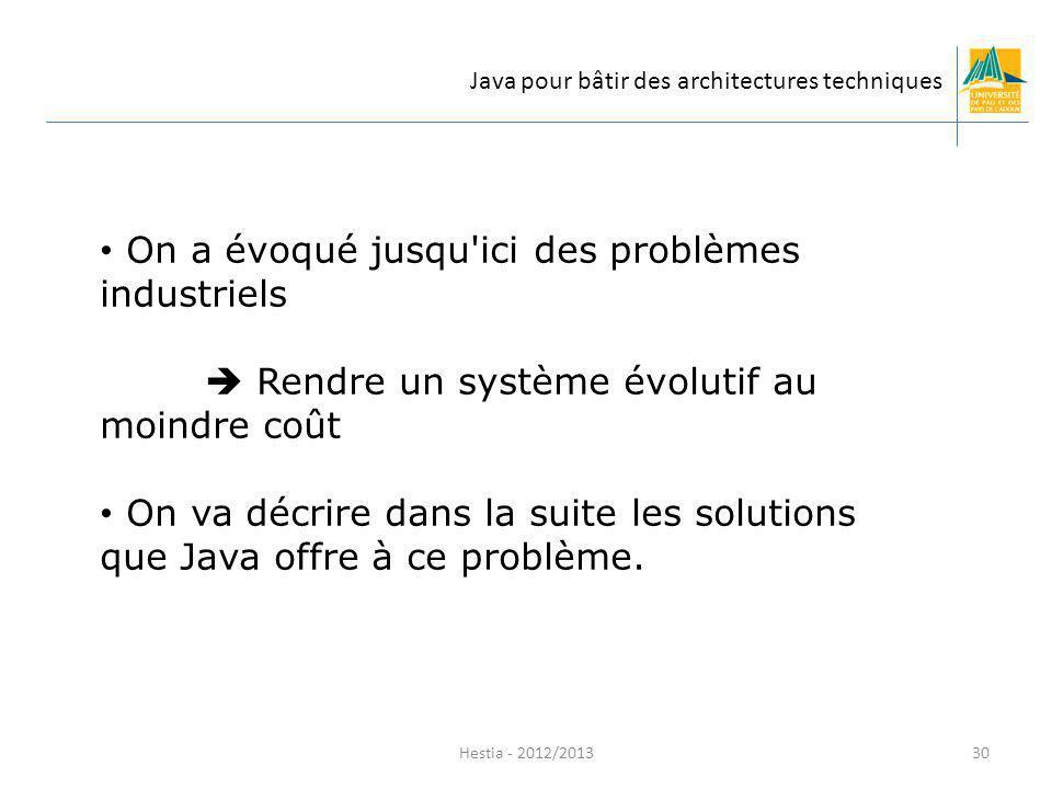 On a évoqué jusqu'ici des problèmes industriels Rendre un système évolutif au moindre coût On va décrire dans la suite les solutions que Java offre à