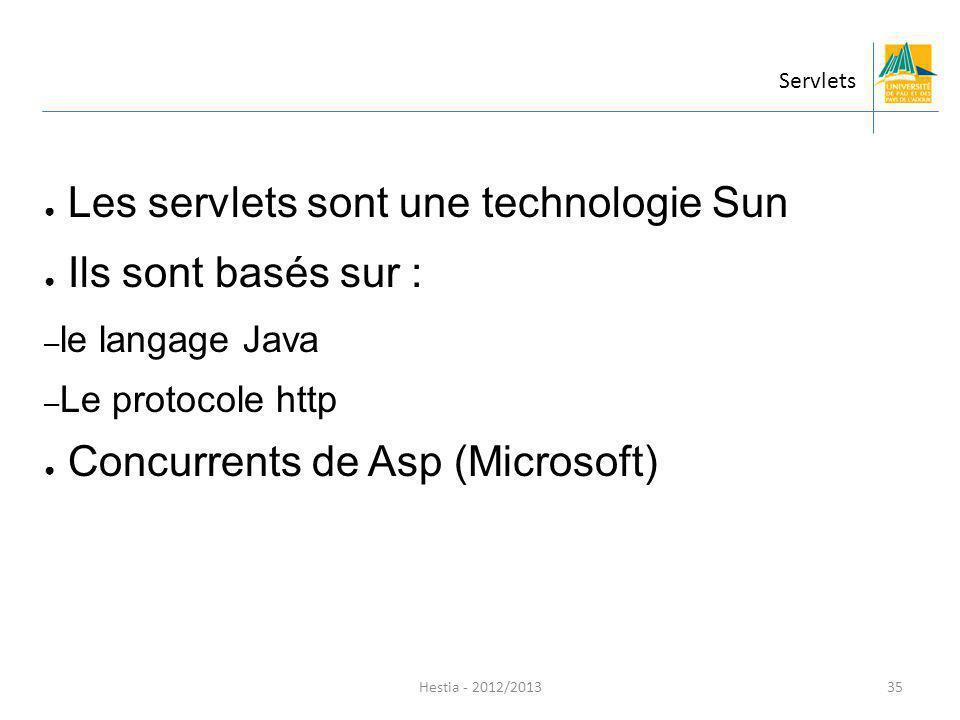 Hestia - 2012/2013 Les servlets sont une technologie Sun Ils sont basés sur : – le langage Java – Le protocole http Concurrents de Asp (Microsoft) Ser