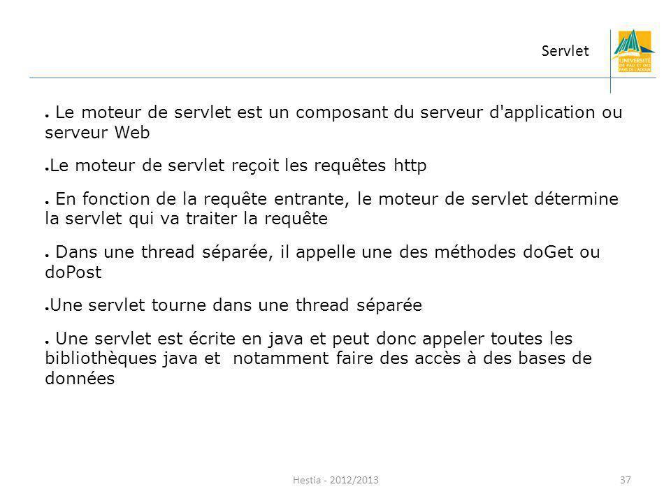 Hestia - 2012/2013 Le moteur de servlet est un composant du serveur d'application ou serveur Web Le moteur de servlet reçoit les requêtes http En fonc