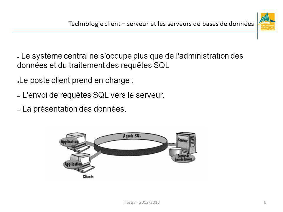 Hestia - 2012/2013 L architecture client-serveur est une architecture 2-tiers Le système de gestion de base de données prend en charge l accès aux données Le client prend en charge la présentation Les traitements métiers sont répartis entre le client et le serveur.