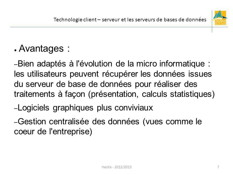 Avantages : – Bien adaptés à l'évolution de la micro informatique : les utilisateurs peuvent récupérer les données issues du serveur de base de donnée