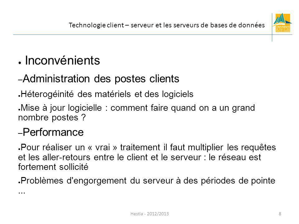 Hestia - 2012/2013 Un client lourd: – possède généralement des capacités de traitement évoluées – peut posséder une interface graphique sophistiquée.