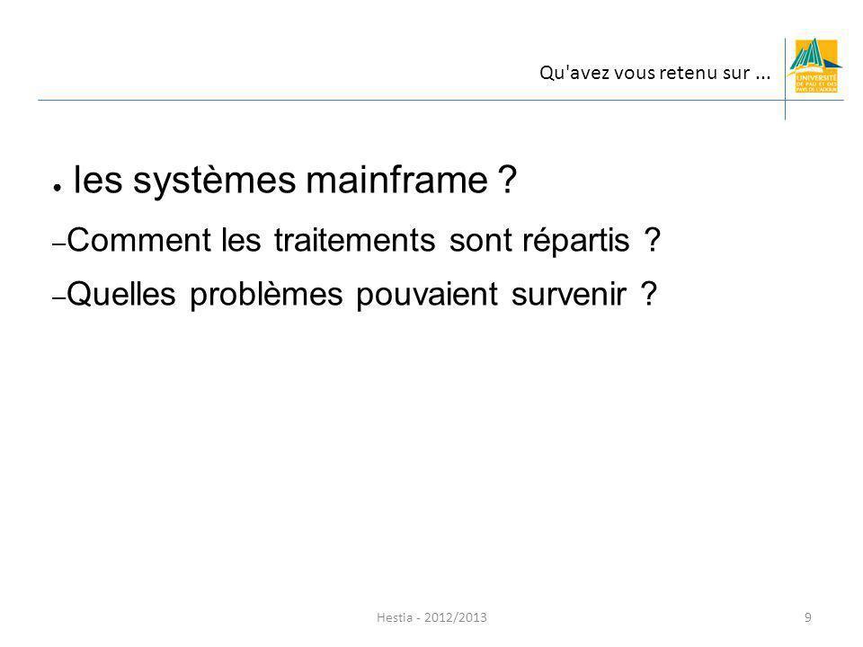 les systèmes mainframe ? – Comment les traitements sont répartis ? – Quelles problèmes pouvaient survenir ? Hestia - 2012/2013 Qu'avez vous retenu sur