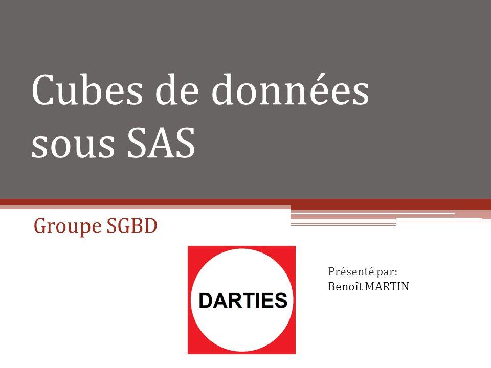 Cubes de données sous SAS Groupe SGBD Présenté par: Benoît MARTIN