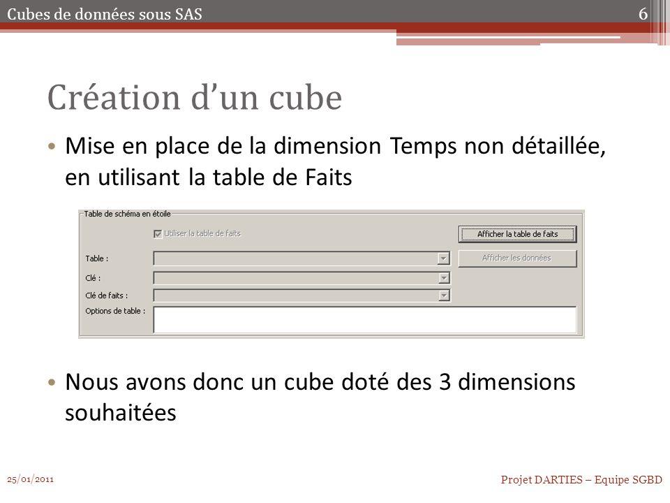 Création dun cube Mise en place de la dimension Temps non détaillée, en utilisant la table de Faits Nous avons donc un cube doté des 3 dimensions souh