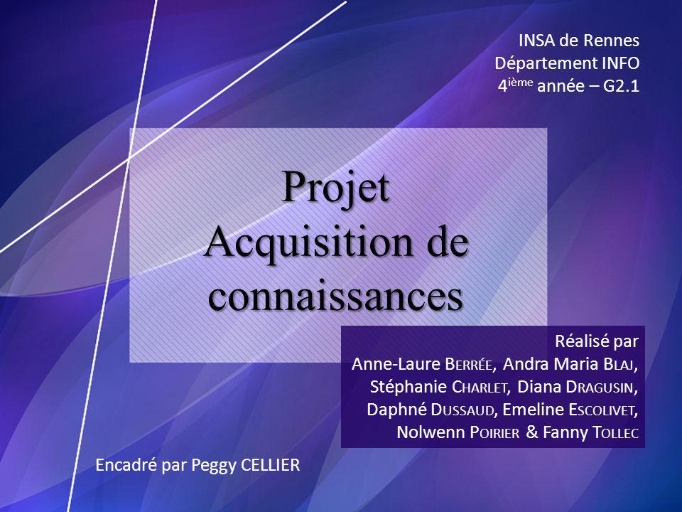 Projet Acquisition de connaissances Réalisé par Anne-Laure B ERRÉE, Andra Maria B LAJ, Stéphanie C HARLET, Diana D RAGUSIN, Daphné D USSAUD, Emeline E