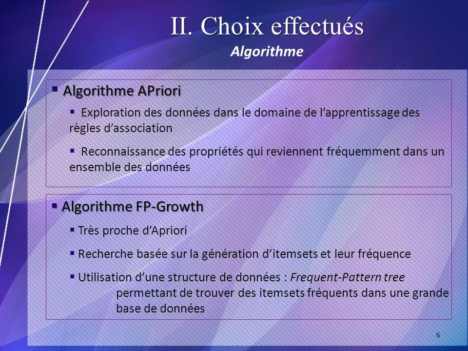 II. Choix effectués Algorithme 6 Algorithme APriori Algorithme FP-Growth Algorithme FP-Growth Exploration des données dans le domaine de lapprentissag