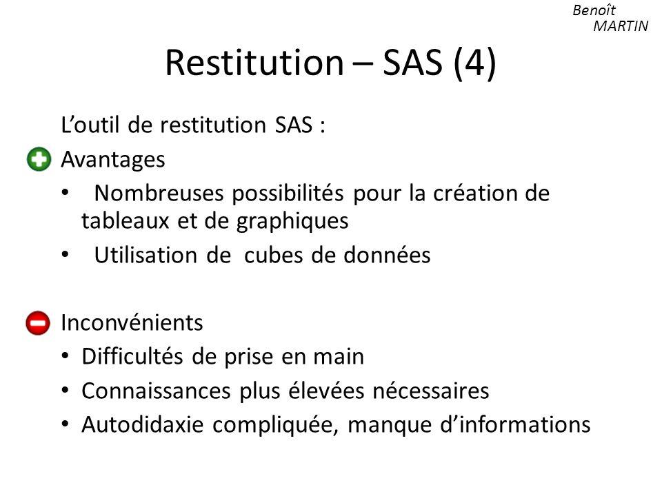 Restitution – SAS (4) Loutil de restitution SAS : Avantages Nombreuses possibilités pour la création de tableaux et de graphiques Utilisation de cubes de données Inconvénients Difficultés de prise en main Connaissances plus élevées nécessaires Autodidaxie compliquée, manque dinformations Benoît MARTIN