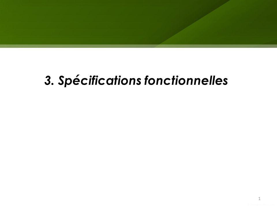 Spécifications fonctionnelles 3 types de descripteurs: – discrete : données faisant partie dune liste prédéfinie (ex: « oui », « non », « peut être »); – continuous : valeurs numériques ordonnées (ex : IMC); – text : phrases ou expressions; Données en entrée 2