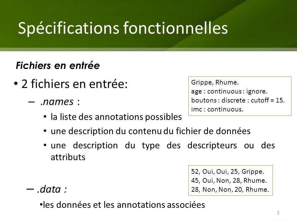 Spécifications fonctionnelles 3 Fichiers en entrée 2 fichiers en entrée: –.names : la liste des annotations possibles une description du contenu du fi