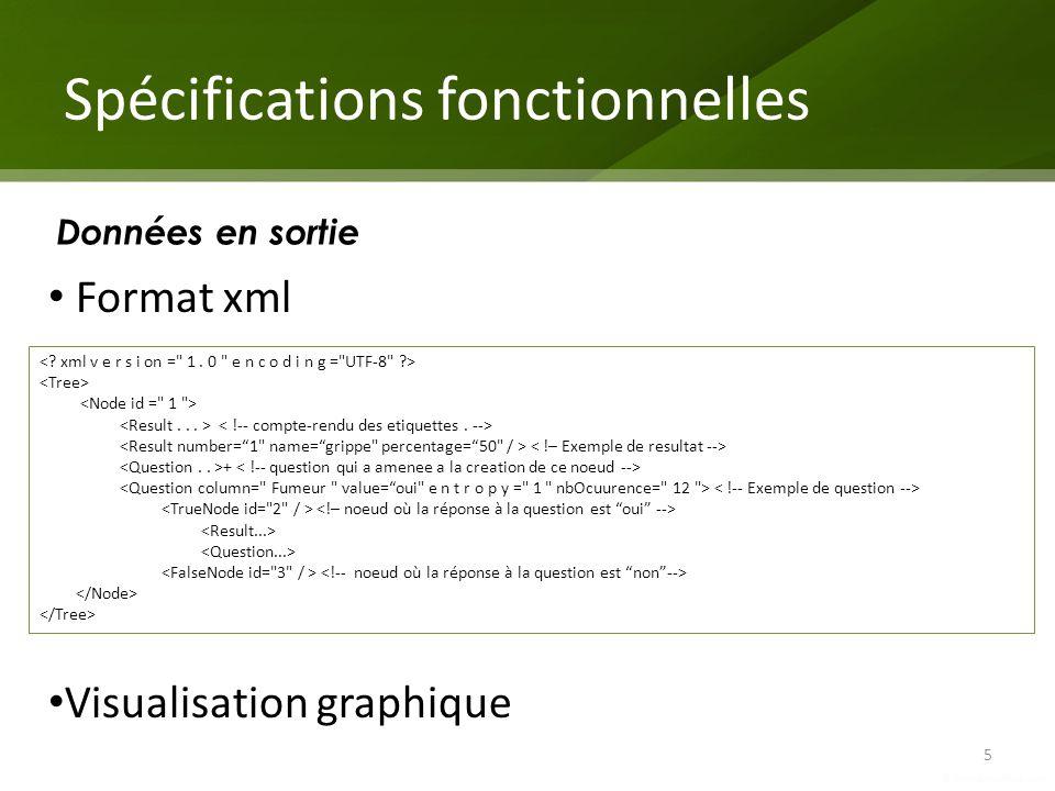 Spécifications fonctionnelles 5 Données en sortie + Format xml Visualisation graphique