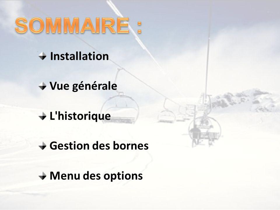 Installation Vue générale L'historique Gestion des bornes Menu des options