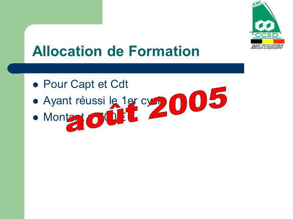 Allocation de Formation Pour Capt et Cdt Ayant réussi le 1er cycle Montant = 700