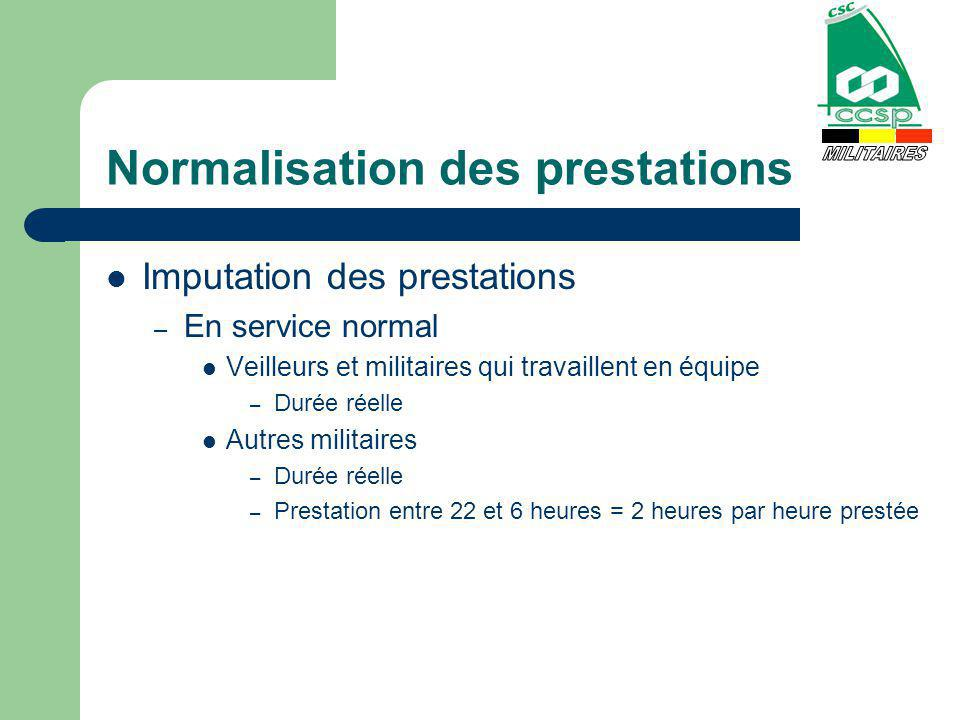 Normalisation des prestations Imputation des prestations – En service normal Veilleurs et militaires qui travaillent en équipe – Durée réelle Autres m