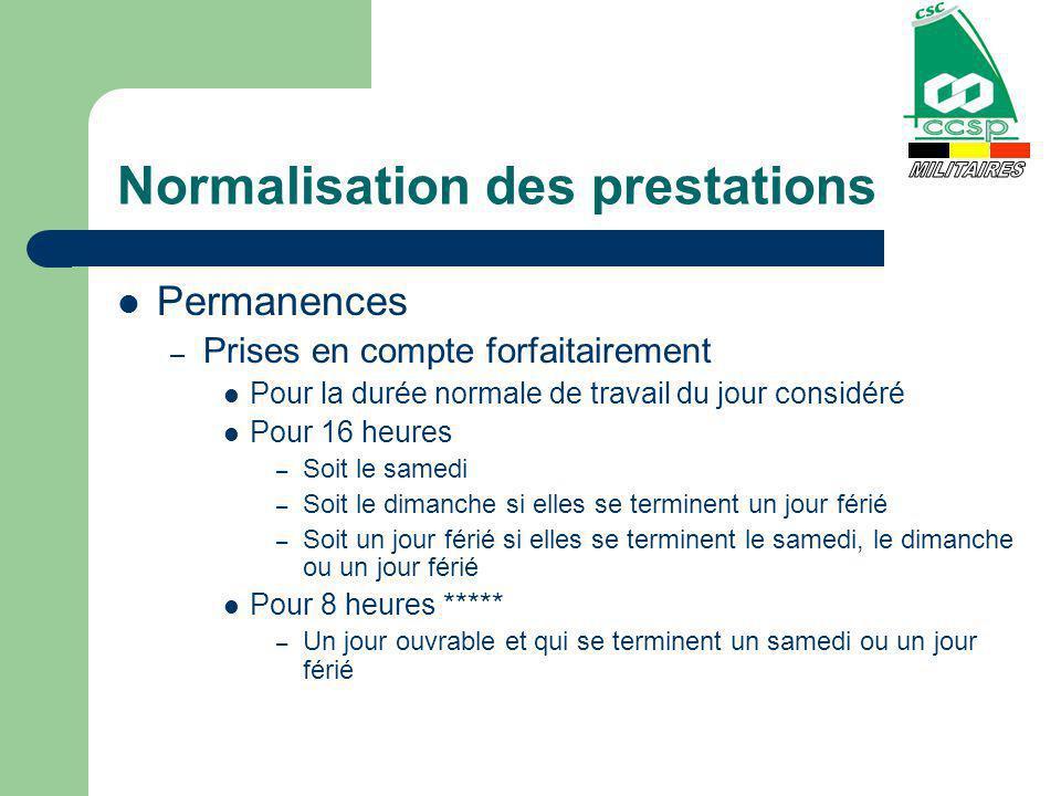 Normalisation des prestations Permanences – Prises en compte forfaitairement Pour la durée normale de travail du jour considéré Pour 16 heures – Soit
