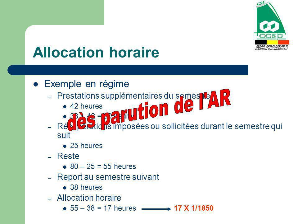 Allocation horaire Exemple en régime – Prestations supplémentaires du semestre 42 heures 38 + 42 = 80 heures – Récupérations imposées ou sollicitées d