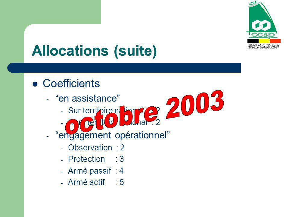Allocations (suite) Coefficients - en assistance - Sur territoire national : 2 - Hors territoire national : 2 - engagement opérationnel - Observation : 2 - Protection : 3 - Armé passif : 4 - Armé actif : 5 Allocations (suite)