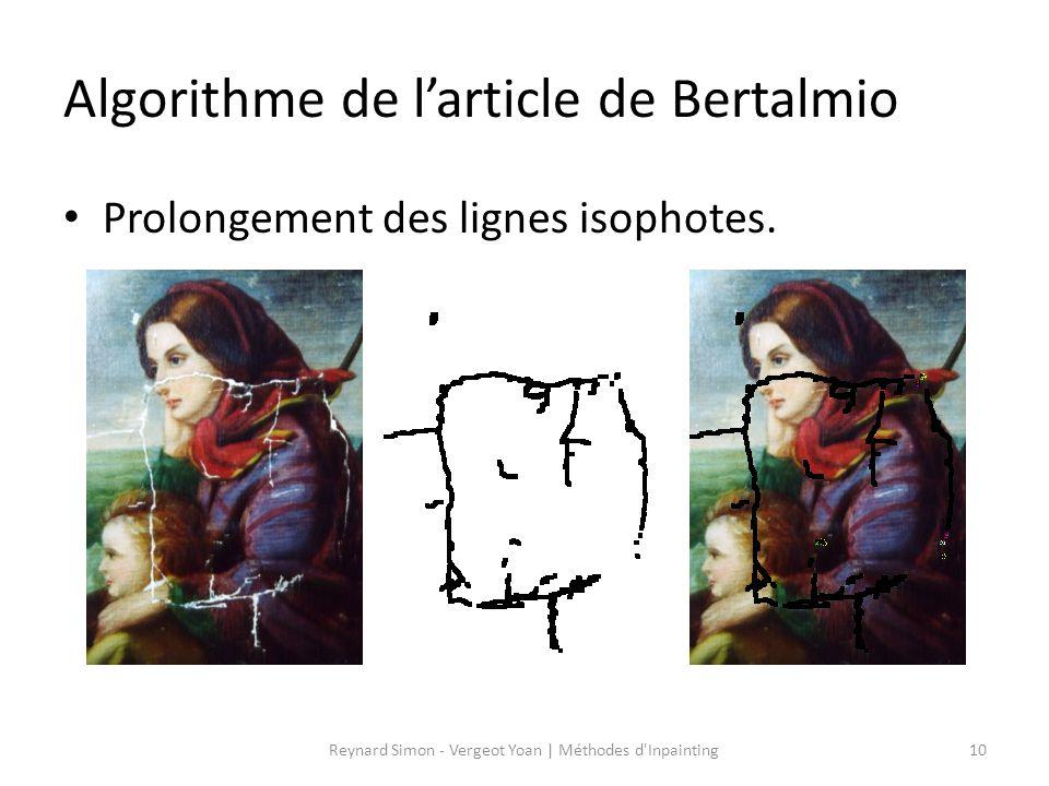 Algorithme de larticle de Bertalmio Prolongement des lignes isophotes. 10Reynard Simon - Vergeot Yoan   Méthodes d'Inpainting