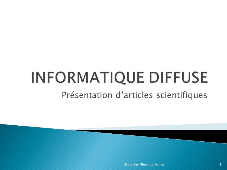 Présentation darticles scientifiques Ecole des Mines de Nantes1