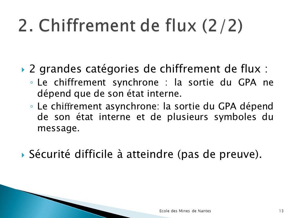 2 grandes catégories de chiffrement de flux : Le chiffrement synchrone : la sortie du GPA ne dépend que de son état interne. Le chi rement asynchrone:
