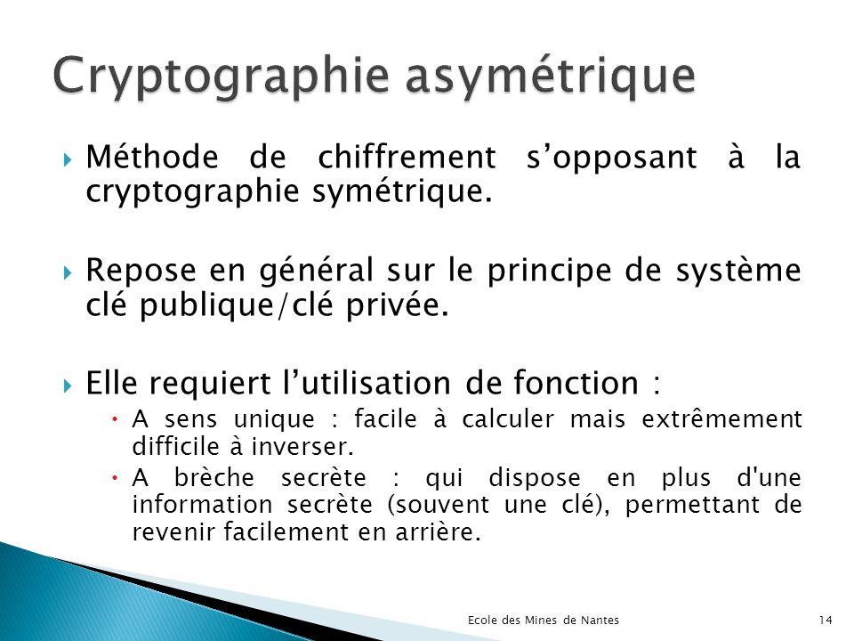 Méthode de chiffrement sopposant à la cryptographie symétrique. Repose en général sur le principe de système clé publique/clé privée. Elle requiert lu
